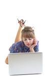 γυναίκα σημειωματάριων στοκ εικόνα με δικαίωμα ελεύθερης χρήσης