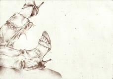 γυναίκα σκίτσων ποδιών s στοκ φωτογραφία με δικαίωμα ελεύθερης χρήσης