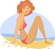 Γυναίκα σκαπανών VeÑ  στην παραλία Στοκ Εικόνα