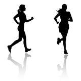 γυναίκα σκιαγραφιών τρεξί Στοκ Εικόνα