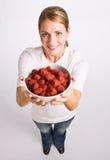 γυναίκα σμέουρων εκμετά&lamb Στοκ φωτογραφία με δικαίωμα ελεύθερης χρήσης