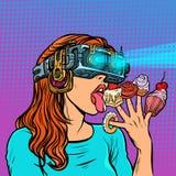 Γυναίκα στα γυαλιά εικονικής πραγματικότητας που τρώει τα γλυκά διανυσματική απεικόνιση