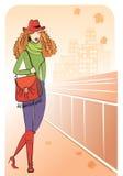 Γυναίκα στην πόλη φθινοπώρου Στοκ Εικόνες