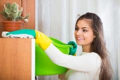 Γυναίκα στα καθαρίζοντας έπιπλα του Τζέρσεϋ στοκ φωτογραφία