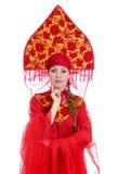 Γυναίκα στα ρωσικά παραδοσιακά ενδύματα. Στοκ εικόνες με δικαίωμα ελεύθερης χρήσης