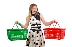 Γυναίκα στην έννοια αγορών υπεραγορών στοκ εικόνες