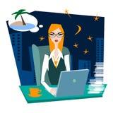 Γυναίκα στην αφηρημάδα εργασίας για τις θερινές διακοπές εν πλω Στοκ εικόνα με δικαίωμα ελεύθερης χρήσης