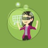 Γυναίκα στην κάσκα εικονικής πραγματικότητας που ψωνίζει on-line Στοκ Εικόνες