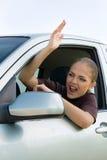 Γυναίκα στην κυκλοφοριακή συμφόρηση στοκ φωτογραφία με δικαίωμα ελεύθερης χρήσης