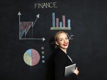 Γυναίκα στην μπροστινή έννοια χρηματοδότησης στον πίνακα κιμωλίας στοκ φωτογραφία