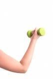 Γυναίκα στην πρακτική αθλητικού εξοπλισμού με τα βάρη χεριών Στοκ φωτογραφίες με δικαίωμα ελεύθερης χρήσης