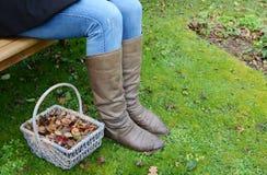 Γυναίκα στις μπότες σε έναν πάγκο κήπων με το καλάθι των φύλλων Στοκ Εικόνα