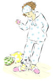Γυναίκα στις πυτζάμες απεικόνιση αποθεμάτων