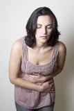 γυναίκα στομαχιών πόνου Στοκ Φωτογραφία