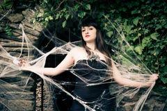Γυναίκα στον ιστό αράχνης Στοκ Εικόνα