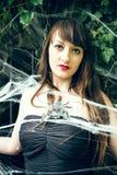 Γυναίκα στον ιστό αράχνης Στοκ Εικόνες