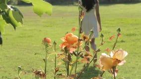 Γυναίκα στο άσπρο φόρεμα που απολαμβάνει τον αέρα και τη φύση απόθεμα βίντεο