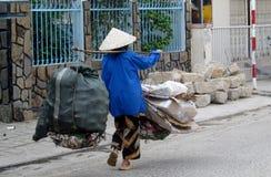 Γυναίκα στο Βιετνάμ που φορά τα παραδοσιακά τριγωνικά καπέλα φοινικών αχύρου Στοκ φωτογραφία με δικαίωμα ελεύθερης χρήσης