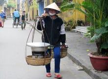 Γυναίκα στο Βιετνάμ που φορά τα παραδοσιακά τριγωνικά καπέλα φοινικών αχύρου Στοκ Εικόνες