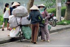 Γυναίκα στο Βιετνάμ που φορά τα παραδοσιακά τριγωνικά καπέλα φοινικών αχύρου Στοκ Εικόνα