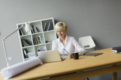Γυναίκα στο γραφείο Στοκ εικόνα με δικαίωμα ελεύθερης χρήσης