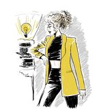 Γυναίκα στο κίτρινο σακάκι με την κυματιστή τρίχα ελεύθερη απεικόνιση δικαιώματος