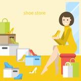Γυναίκα στο κατάστημα παπουτσιών που ψωνίζει για τα παπούτσια Απεικόνιση αποθεμάτων