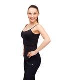 Γυναίκα στο κενό μαύρο πουκάμισο Στοκ Εικόνα