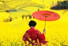 Γυναίκα στο κιμονό που περπατά μακριά, πίσω άποψη Στοκ Φωτογραφία
