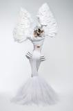 Γυναίκα στο κοστούμι φαντασίας με τα μανίκια φτερών στοκ εικόνα