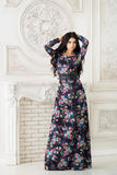 Γυναίκα στο μακρύ μεγάλου μεγέθους φόρεμα στο στούντιο Στοκ Εικόνες