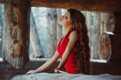 Γυναίκα στο ξύλινο σπίτι φορεμάτων στοκ εικόνες