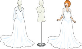 Γυναίκα στο παραδοσιακό άσπρο γαμήλιο φόρεμα Στοκ Εικόνες