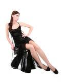 Γυναίκα στο προκλητικό, μαύρο φόρεμα βραδιού Στοκ Εικόνα