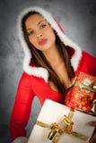 Γυναίκα στο χρόνο Χριστουγέννων Στοκ εικόνες με δικαίωμα ελεύθερης χρήσης