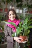 Γυναίκα στο floral κατάστημα στοκ φωτογραφία με δικαίωμα ελεύθερης χρήσης