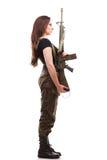 Γυναίκα στρατού με το πυροβόλο όπλο - όμορφη γυναίκα με το πλαστικό τουφεκιών Στοκ φωτογραφίες με δικαίωμα ελεύθερης χρήσης