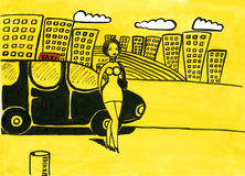 γυναίκα ταξί οδηγών Στοκ Φωτογραφία