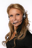 Γυναίκα τηλεφωνικών κέντρων Στοκ Φωτογραφίες