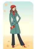 Γυναίκα της Νίκαιας σε ένα θερμό παλτό. Διανυσματικό CL μόδας φθινοπώρου Στοκ εικόνα με δικαίωμα ελεύθερης χρήσης