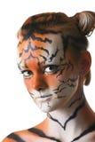 γυναίκα τιγρών πορτρέτου Στοκ φωτογραφία με δικαίωμα ελεύθερης χρήσης