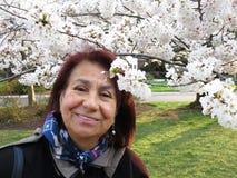 Γυναίκα του Λατίνα που απολαμβάνει τα άνθη κερασιών Στοκ Εικόνα