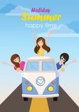 Γυναίκα τρία που κυματίζει το ευτυχές καλοκαίρι διακοπών ταξιδιού με το κείμενο Στοκ φωτογραφία με δικαίωμα ελεύθερης χρήσης
