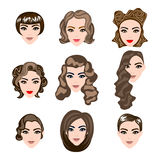 Γυναίκα, τρίχα ανδρών, διανυσματική σκιαγραφία hairstyle Στοκ Εικόνες