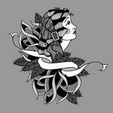 Γυναίκα τσιγγάνων παραδοσιακή με τα τριαντάφυλλα και τη διανυσματική απεικόνιση σχεδίου δερματοστιξιών κορδελλών απεικόνιση αποθεμάτων
