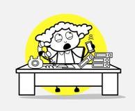 Γυναίκα υπάλληλος που μιλά στα τηλέφωνα με τους πελάτες ελεύθερη απεικόνιση δικαιώματος
