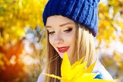 Γυναίκα φθινοπώρου ευχαριστημένη από τα ζωηρόχρωμα φύλλα πτώσης Στοκ Εικόνες