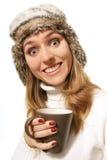 γυναίκα φλυτζανιών καφέ Στοκ εικόνα με δικαίωμα ελεύθερης χρήσης