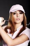 γυναίκα φορέων γκολφ Στοκ φωτογραφία με δικαίωμα ελεύθερης χρήσης