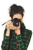 γυναίκα φωτογράφων φωτογραφικών μηχανών Στοκ φωτογραφία με δικαίωμα ελεύθερης χρήσης